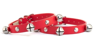 Leather Jingle Bell Dog Collar by Auburn Leathercrafters