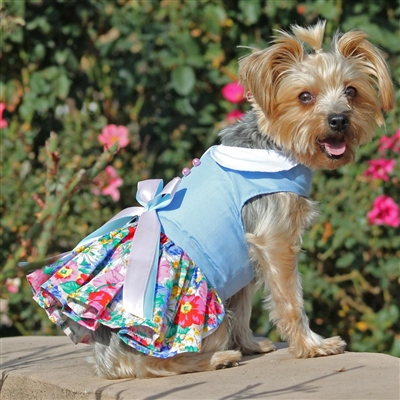 Blue and White Pastel Pearls Floral Dog Dress with Matching Leash- XSm-LG