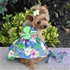 Blue Lagoon Hawaiian Hibiscus Dog Dress with Matching Leash X-Sm-Large