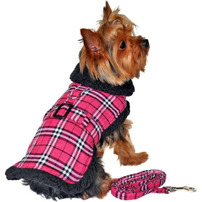 Wool Fur-Trimmed Dog Harness Coat by Doggie Design - Red -XSmall-XLarge