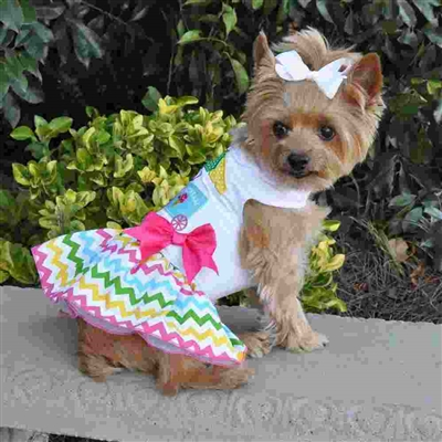 Ice Cream Cart Dog Dress with Matching Leash XSm-Large