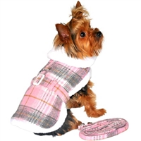Pink & White Plaid Designer Dog Harness Coat and Matching Leash- XSmall-2X-Large