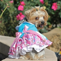 Pink and Blue Plumeria Floral Dog Dress XSmall-Large