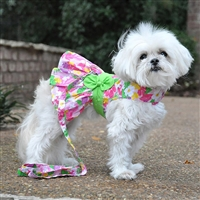 Pink Hawaiian Floral Dog Harness Dress with Matching Leash XSmall-Large