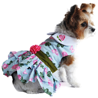 Pink Rose Harness Dress with Matching Leash XSmall-Large