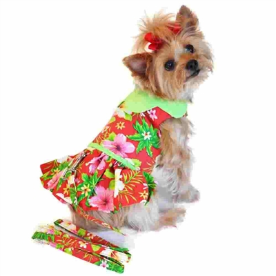 Hawaiian Red Hibiscus Designer Dog Dress XSm-Large