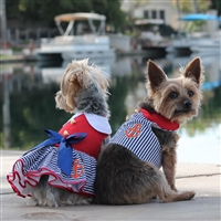 First Mate Sailor Girl Dress with Matching Leash- XSm-LG
