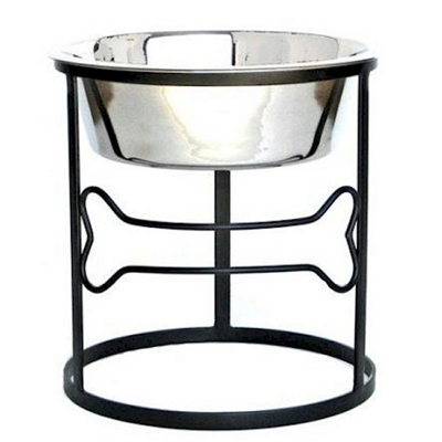 Wrought Iron Bone Raised Single Dog Diner