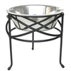 Wrought Iron Mesh Single Elevated Dog Stand and Bowl