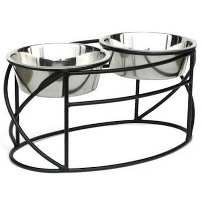 Wrought Iron Stand Oval Cross Double Raised Feeder