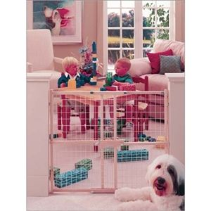 "Wide Wire Mesh Wooden Dog Gate 29.5"" - 50"" x 32"""