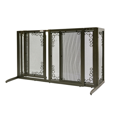 Richell Deluxe Freestanding Mesh Pet Gate Bronze R94912