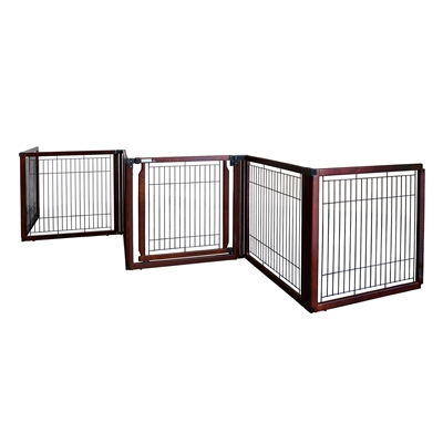 Richell Convertible Elite Freestanding Pet Gate 6-Panel Cherry Brown  R94960