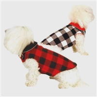 Buffalo Plaid Fleece Dog Coat - Reversible