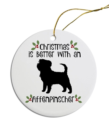Affenpinscher-Australian Shepherd Dog Christmas Ornament