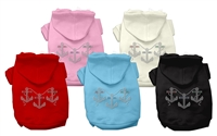 Anchors Rhinestone Dog Hoodies