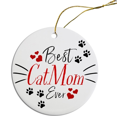 Best Cat Mom Painted Resin X Mas Ornament Free Shipping