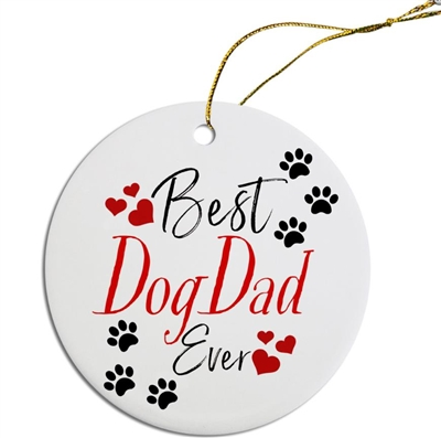 Best Dog Dad Painted Resin X Mas Ornament Free Shipping