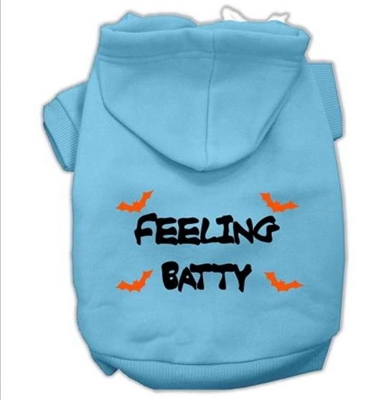 Feeling Batty Screen Print Pet Hoodies-XSm-XXX-Large Free Shipping