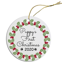 Puppy's First Christmas Ornament Free Shipping
