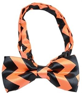 Black and Orange Chevron Dog Bow Tie