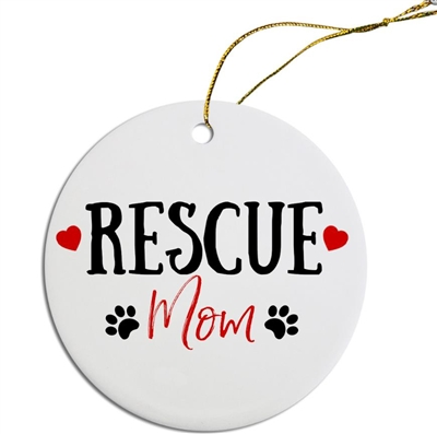 Rescue Mom Painted Resin X Mas Ornament Free Shipping