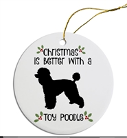 Toy Poodle to Yorkie Breed Christmas Ornament Free Ship