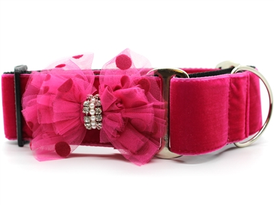 "Bardot Pink Velvet 1"" Wide Martingale Dog Collar"