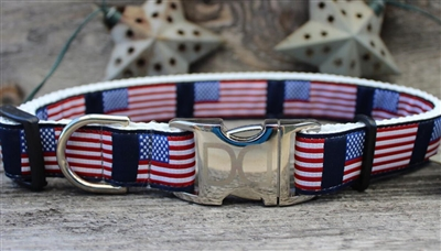 Stars n Stripes Buckle Dog Collar