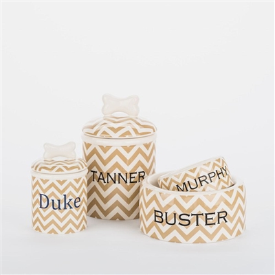 Creature Comforts Personalized Ceramic Chevron Bowls and Treat Jars Set
