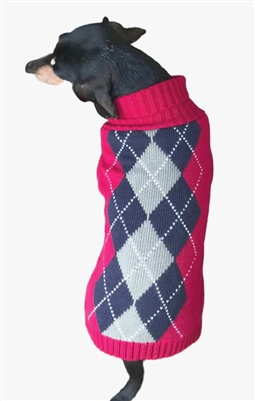 Dallas Dogs Brown and Red Argyle Sweater
