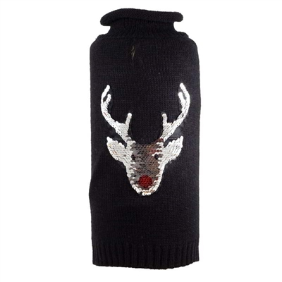 Reversible Sequin Reindeer Roll Neck Pet Sweater